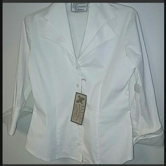 302684b8d54b7 Kevin's Plantation Tops | Kevins Plantation White Cotton Blouse Size ...